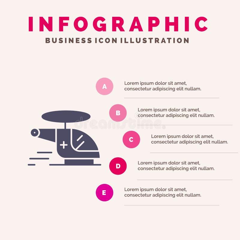 Helicóptero, interruptor, médico, ambulancia, fondo sólido de la presentación de los pasos de Infographics 5 del icono del aire libre illustration