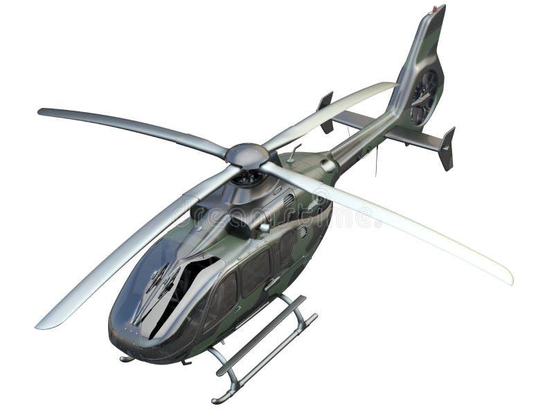 Helicóptero militar en el fondo blanco libre illustration