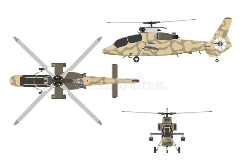 Helicóptero militar no estilo liso ilustração stock