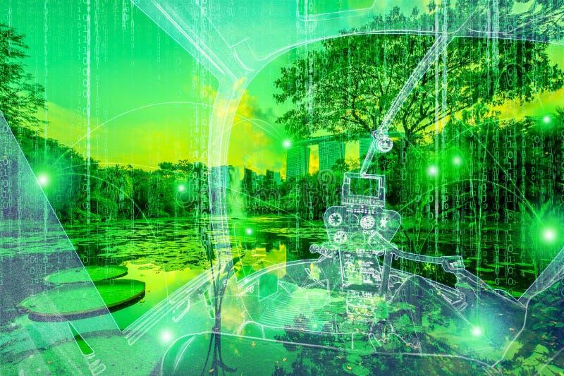 Helicóptero na realidade virtual da matriz imagens de stock royalty free