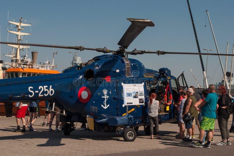 Helicóptero naval do lince do esquadrão 723 da força aérea dinamarquesa real foto de stock