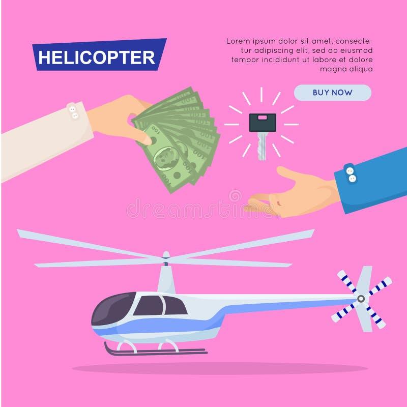 Helicóptero novo de compra em linha Bandeira do Web Vetor ilustração do vetor
