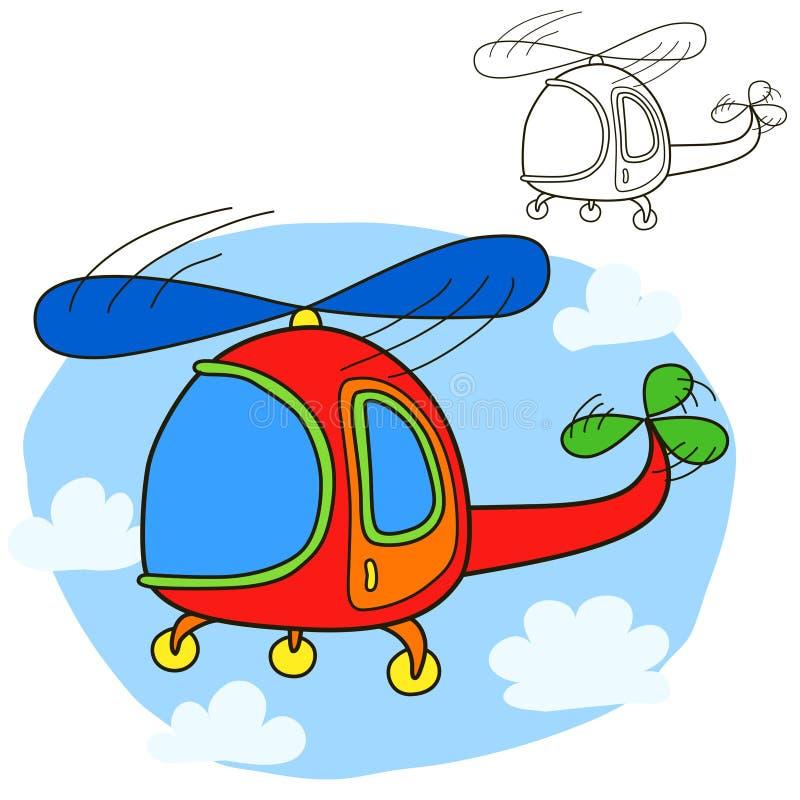 Helicóptero Página del libro de colorear ilustración del vector