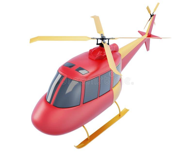 Helicóptero rojo del juguete aislado en el fondo blanco 3d rinden libre illustration