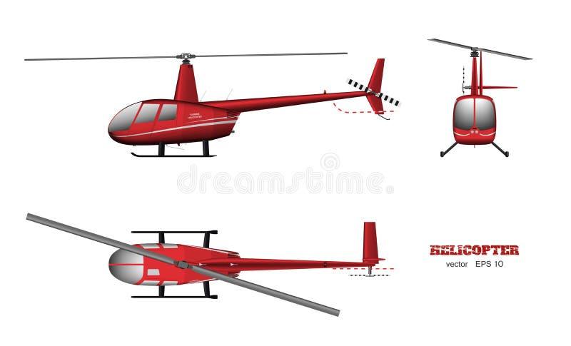 Helicóptero rojo Vista del top, delantera y lateral imagen 3d del vehículo del negocio Dibujo aislado industrial stock de ilustración