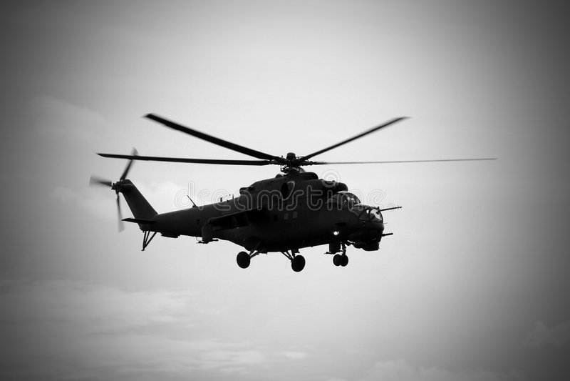 Helicóptero soviético Mi-24 traseiro fotografia de stock royalty free
