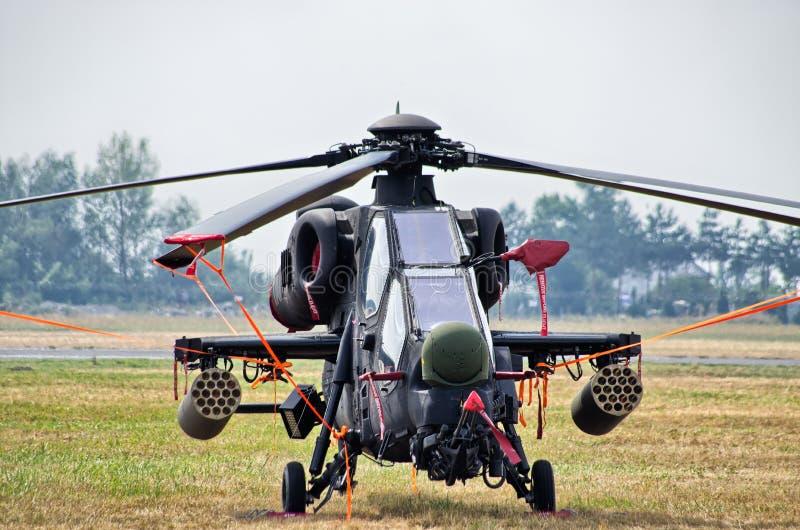 Helicóptero turco de T-129 ATAK em Radom Airshow, Polônia fotografia de stock royalty free
