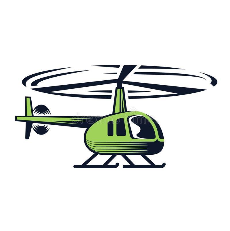 Helicóptero verde en un fondo blanco libre illustration