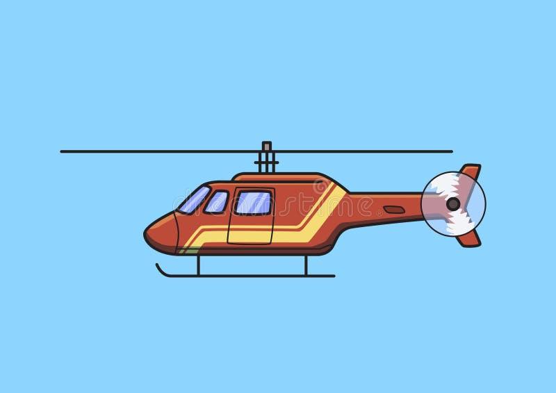 Helicóptero vermelho do salvamento, interruptor inversor, avião Ilustração lisa do vetor Isolado no fundo azul ilustração stock