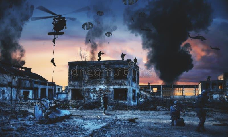 Helicóptero y fuerzas del golpe violento en fábrica destruida ilustración del vector