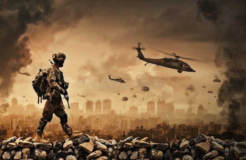 Helicóptero y fuerzas militares en ciudad destruida ilustración del vector