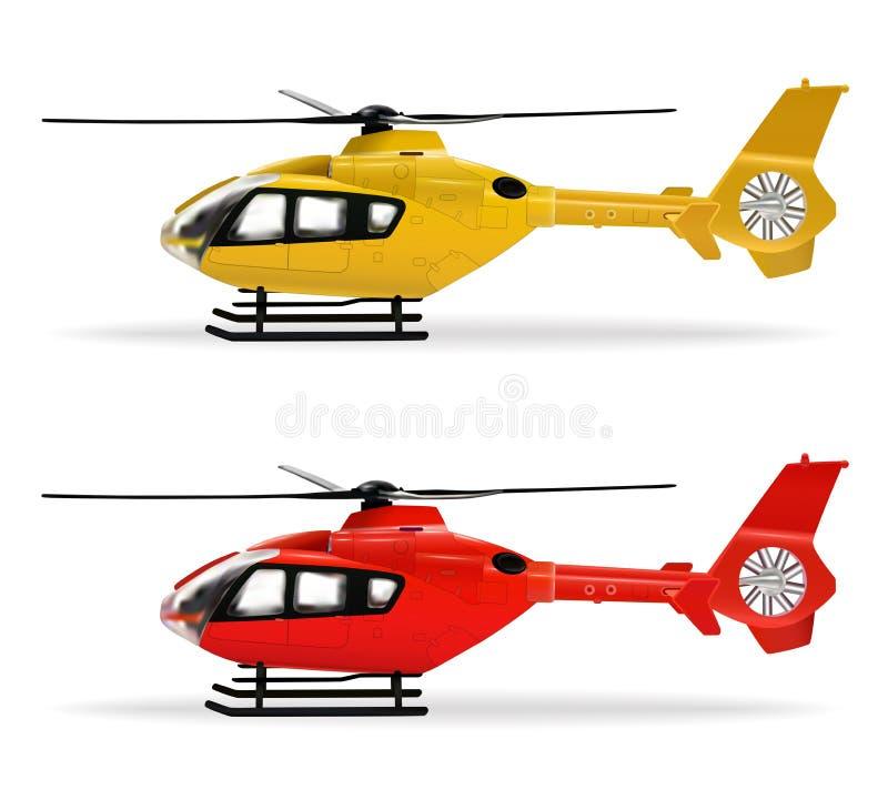 Helic?pteros amarillos y rojos Helic?ptero peque?o del pasajero en diversos colores Transporte a?reo Realista aislado stock de ilustración