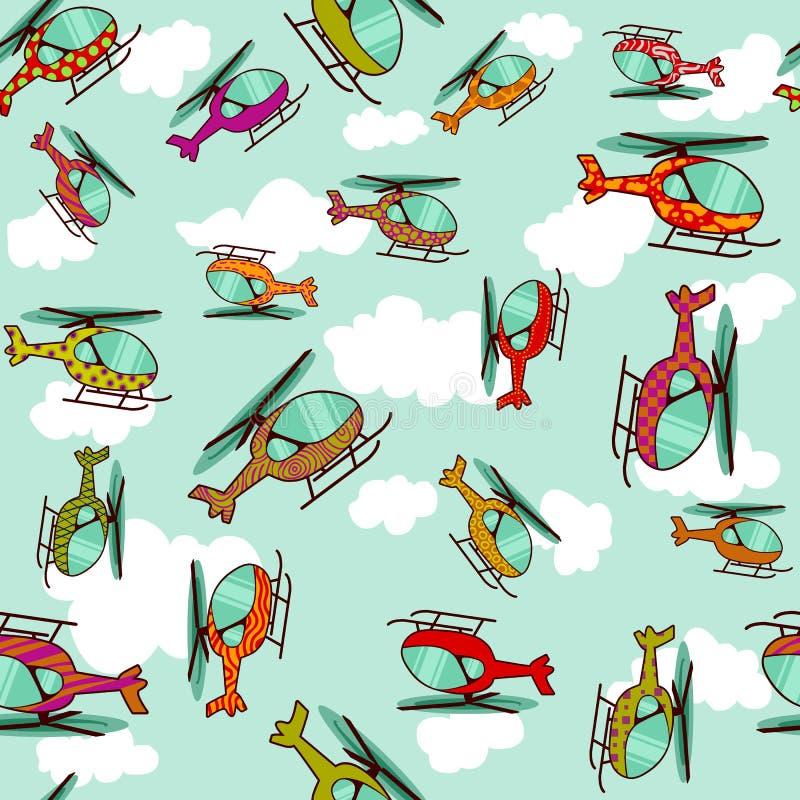 Helicópteros coloridos sem emenda ilustração stock