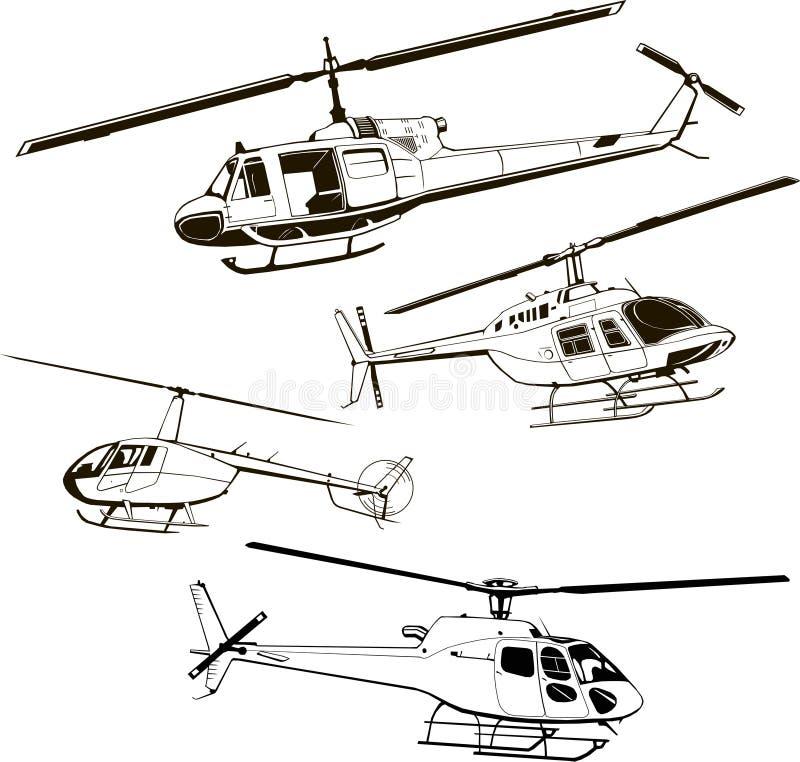 Helicópteros, conjuntos de cuatro modelos, ilustración vectorial, icono, símbolo, monograma, aislado, silueta stock de ilustración