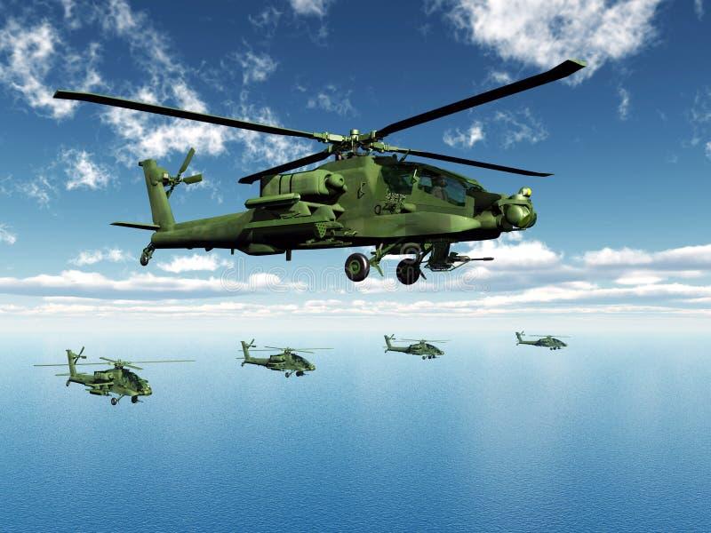 Helicópteros de Apache ilustração royalty free