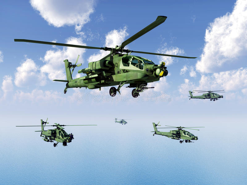 Helicópteros de Apache ilustração do vetor