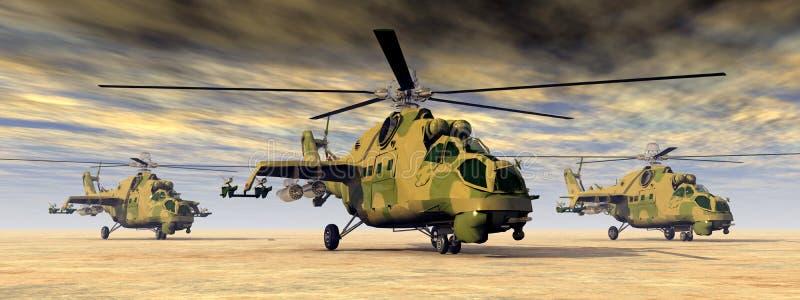 Helicópteros de ataque soviéticos ilustração stock