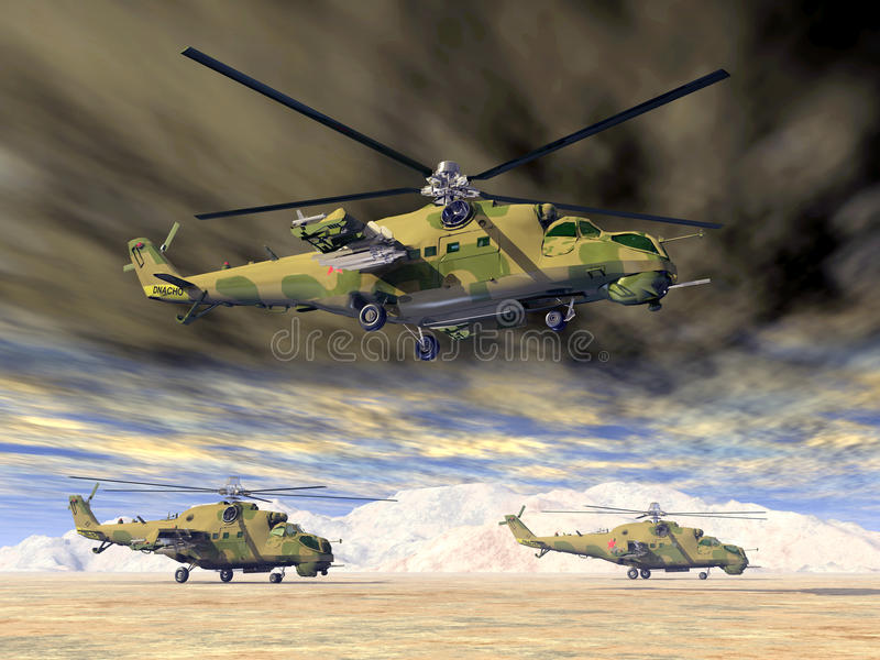 Helicópteros de ataque soviéticos da guerra fria ilustração stock