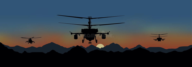 helicópteros de combate no ataque ilustração do vetor