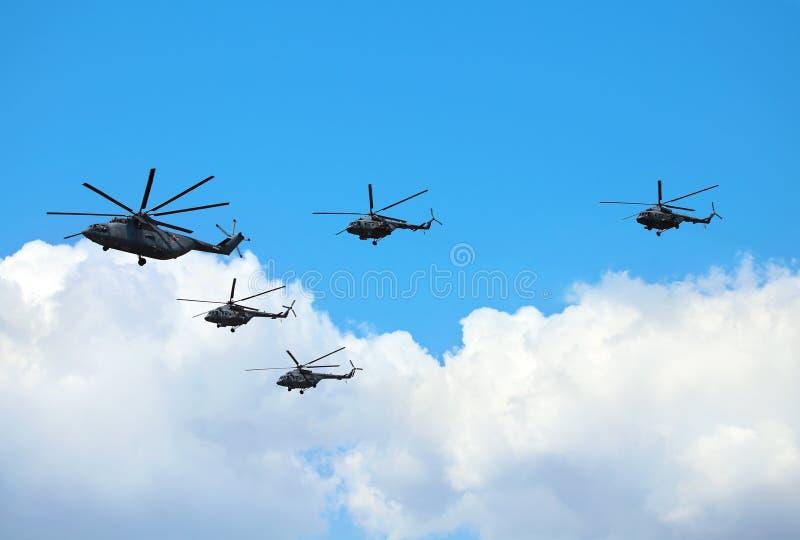 Helicópteros do transporte do russo fotografia de stock royalty free