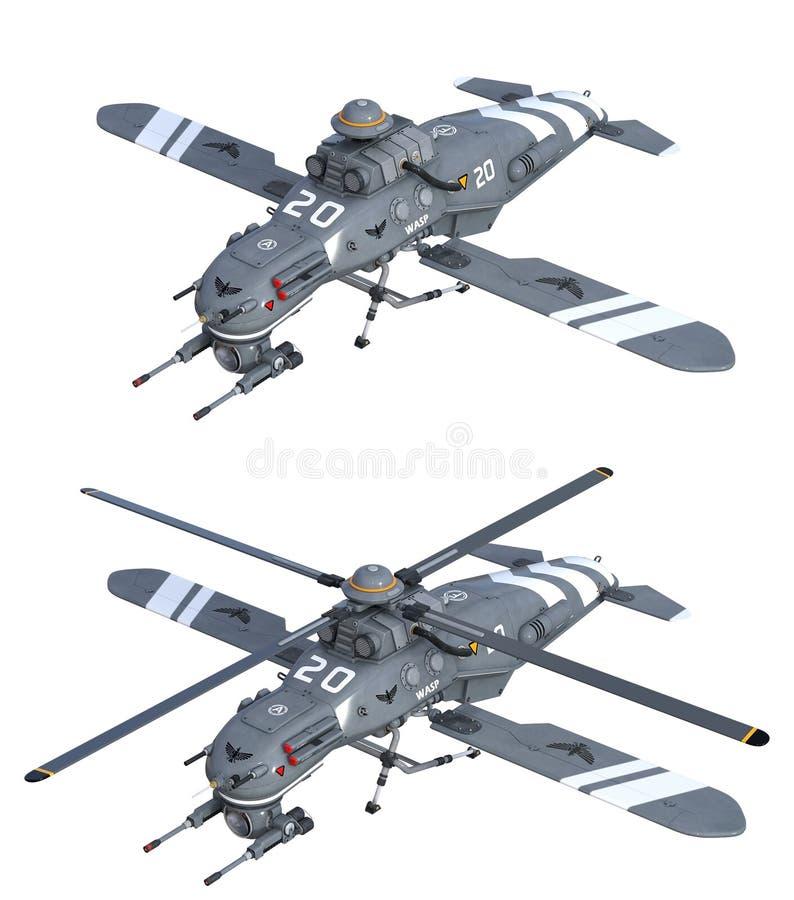 Helicópteros futuristas ilustração do vetor