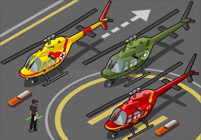 Helicópteros isométricos en la librea tres ilustración del vector