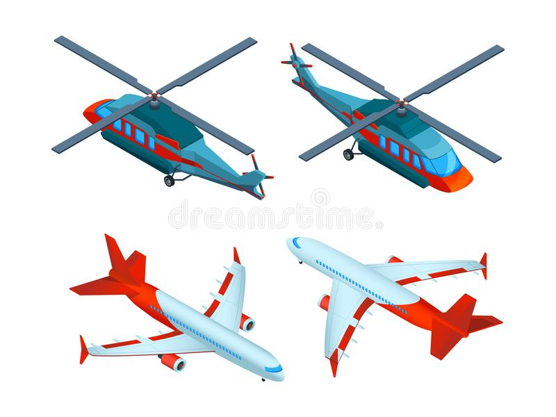 Helicópteros isométricos imagens 3d do transporte do avia Aviões e helicópteros ilustração stock