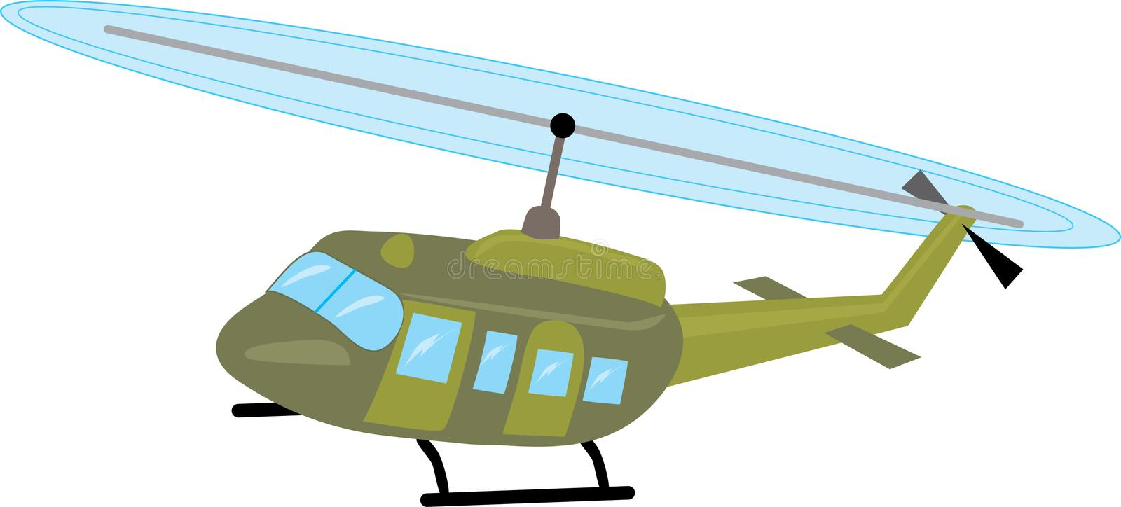 Helicopter. Illustration of Camouflaged Military Helicopter in flight royalty free illustration