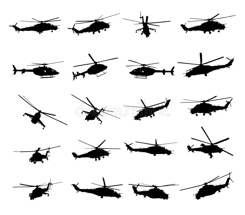 Helicopter. Army Helicopter Illustration on white background royalty free illustration