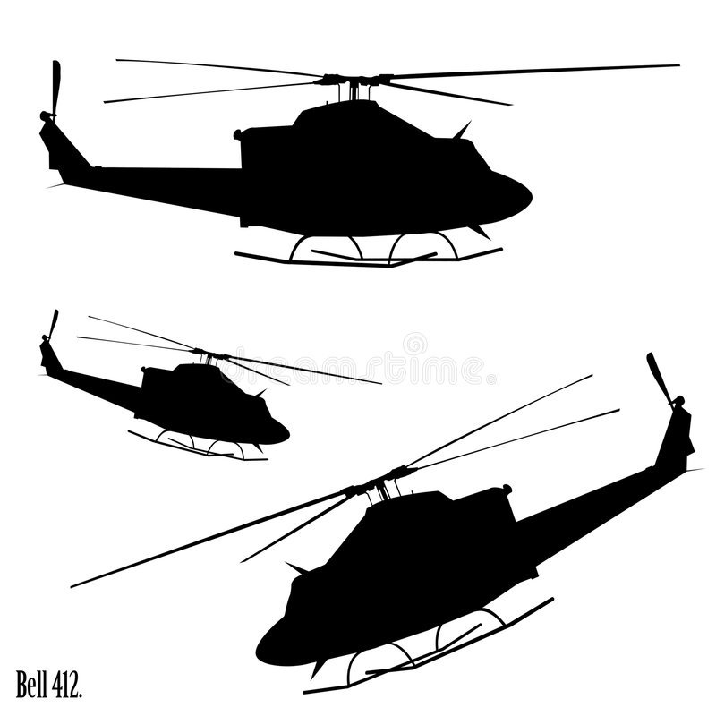 Helicopter. Bell 412 helicopter.From searing desert to polar ice cap, the world's most rugged and reliable medium twin-engine helicopter stock illustration