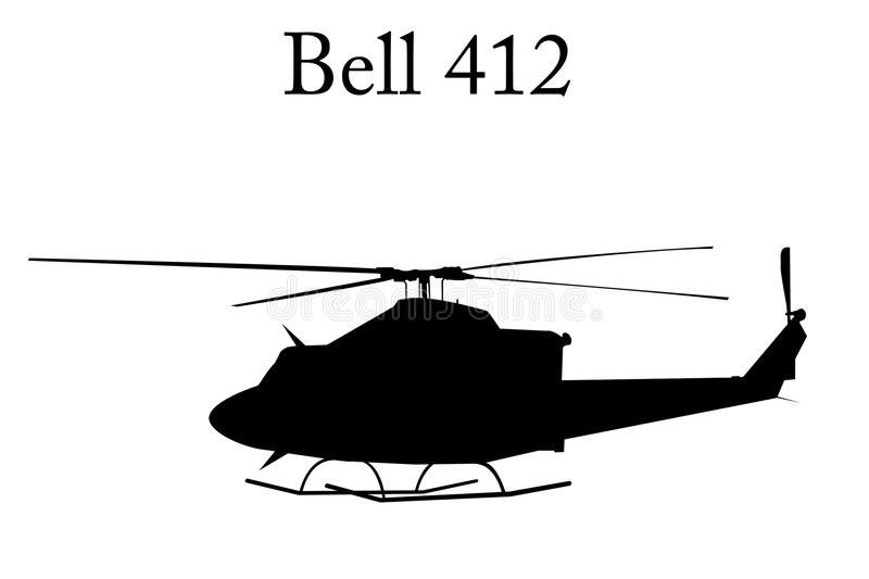 Helicopter. Bell 412 helicopter. From searing desert to polar ice cap, the world's most rugged and reliable medium twin-engine stock illustration