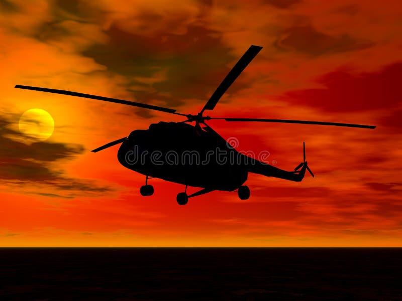 Helicopter. Landing at sunset vector illustration