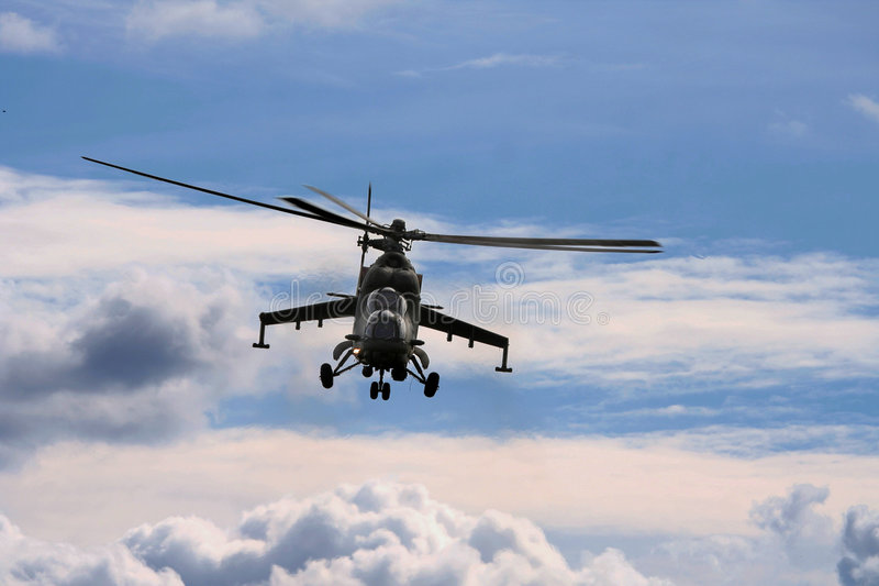 Helicopter in action, war royalty free stock photos