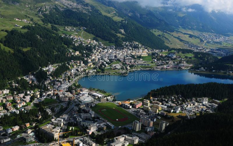 Helicopter Airshot from St. Moritz in the Upper Engadin in canto. Swiss alps: Helicopter Airshot from St. Moritz in the Upper Engadin in canton Graubünden stock photography