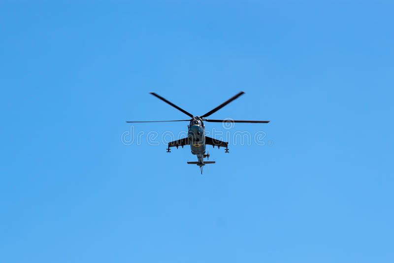 Helicopter Armed Forces of Ukraine flew over the area royalty free stock photography