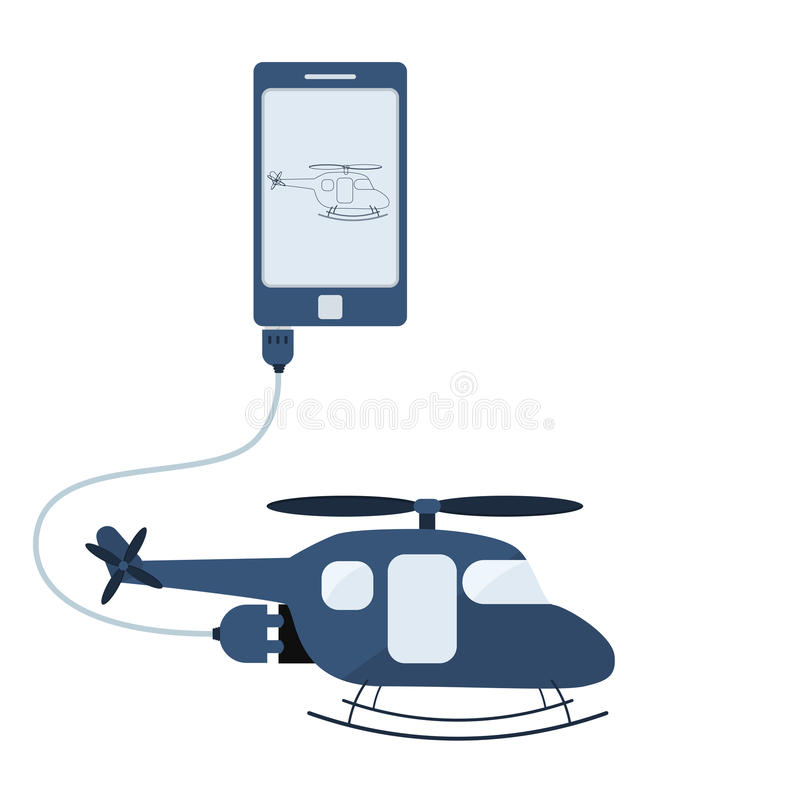 Helicopter automation using cell phone. Helicopter connected to a cell phone through a usb cable. Outline of the helicopter being shown on the mobile monitor royalty free illustration