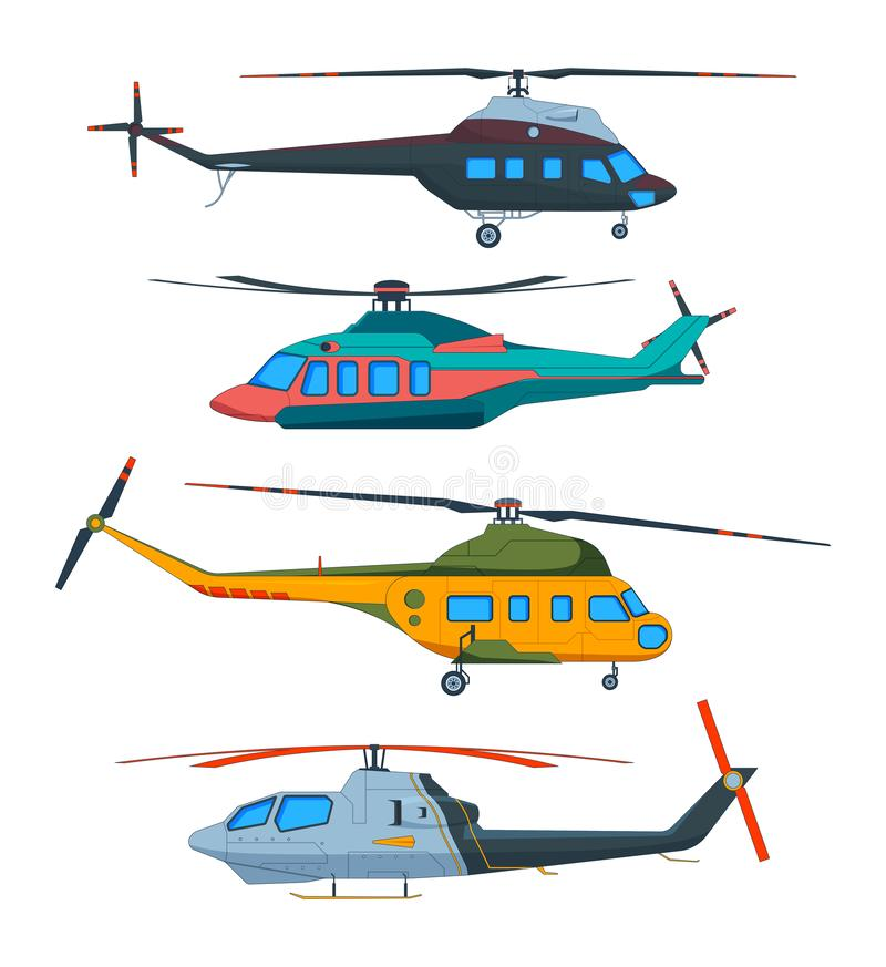 Helicopter Aviation. Helicopters cartoon. Avia transportation isolated on white. Vector transportation with propeller, airscrew flight illustration royalty free illustration