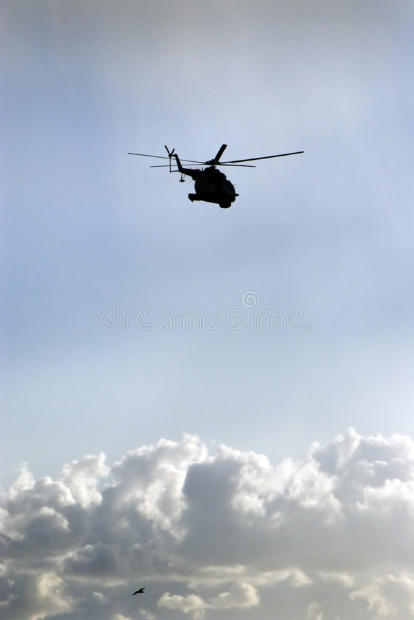 Download Helicopter and bird stock photo. Image of silhouettes - 3042706