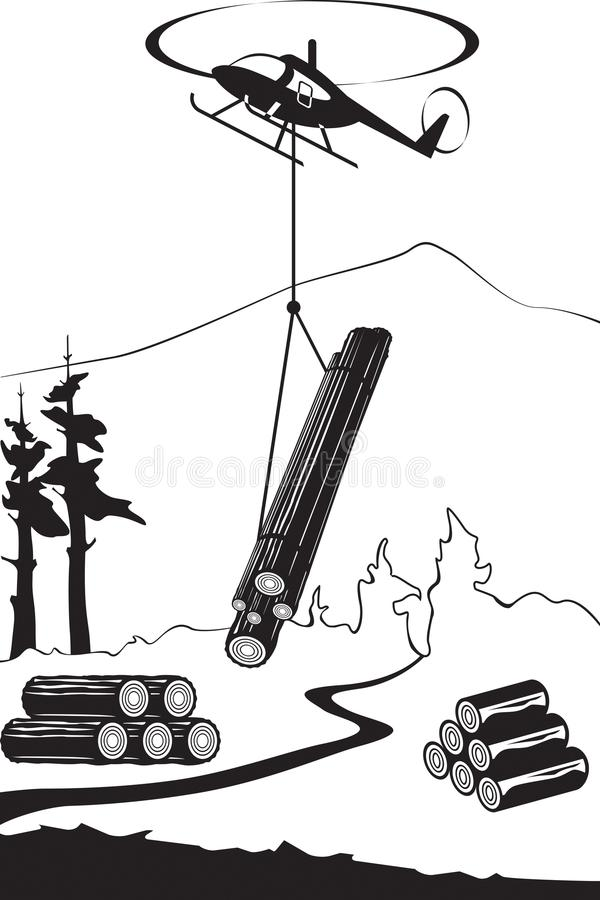 Helicopter carry wood timbers in the forest. Vector illustration stock illustration