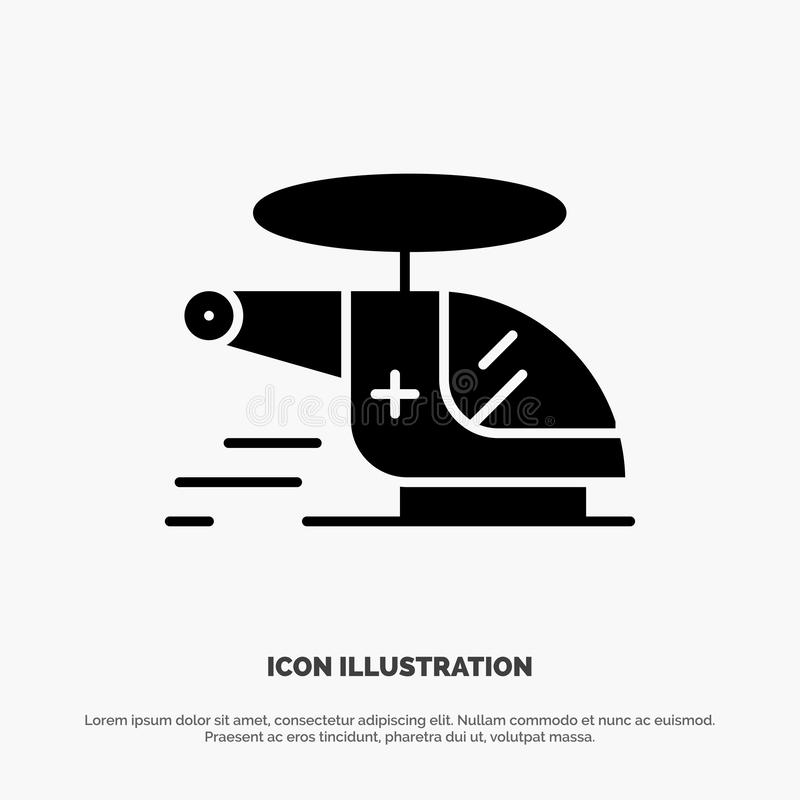 Helicopter, Chopper, Medical, Ambulance, Air solid Glyph Icon vector vector illustration