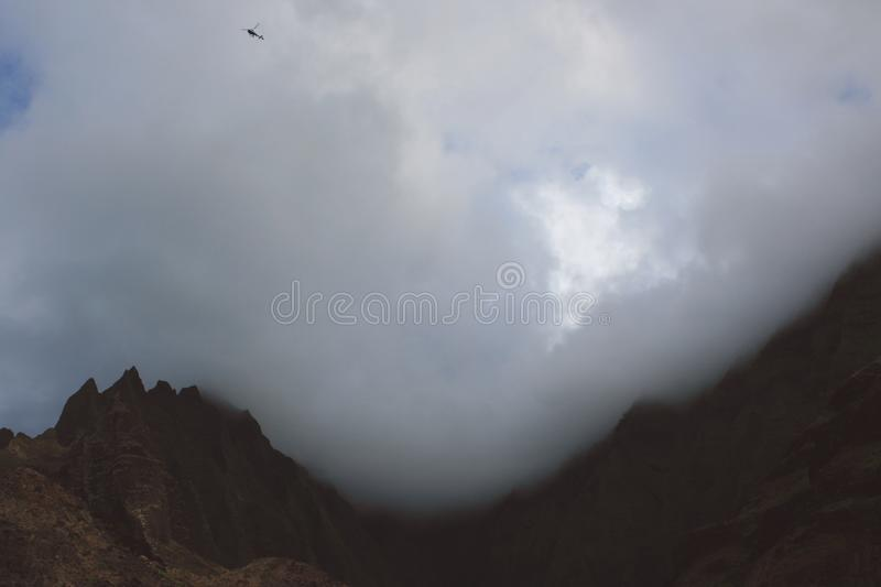 Helicopter In Clouds Over Mountain Free Public Domain Cc0 Image
