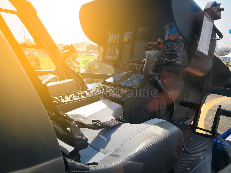 Helicopter cockpit with control panels stock image