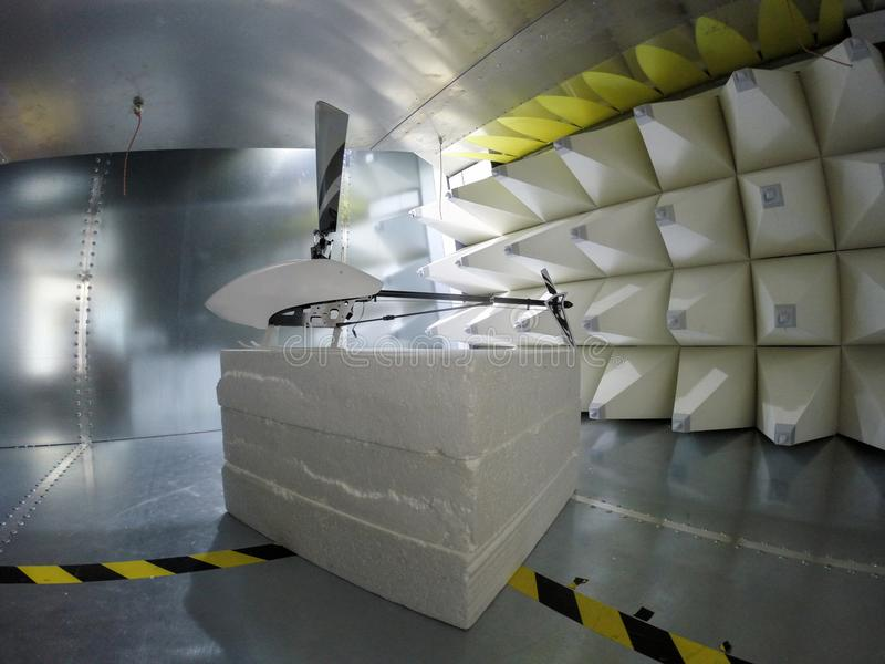 Helicopter drone Electromagnetic Compatbility EMC test in GTEM c. Helicopter drone electromagnetic compatibility testing inside GTEM cell stock images