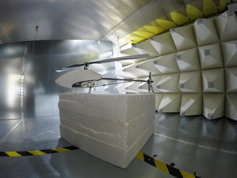 Helicopter drone Electromagnetic Compatbility EMC test in GTEM c. Helicopter drone electromagnetic compatibility testing inside GTEM cell stock photos