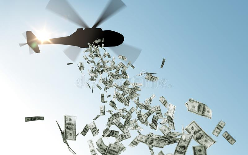 Helicopter dropping money in sky royalty free stock image