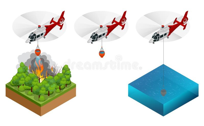 Isometric helicopter dropping water on a fire. Forest fire helicopter vector illustration. Helicopter dropping water on a fire, forest fire helicopter stock illustration
