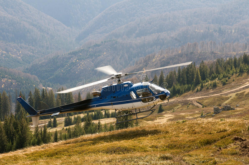 Helicopter Ecureuil AS350 B3 during landing stock image