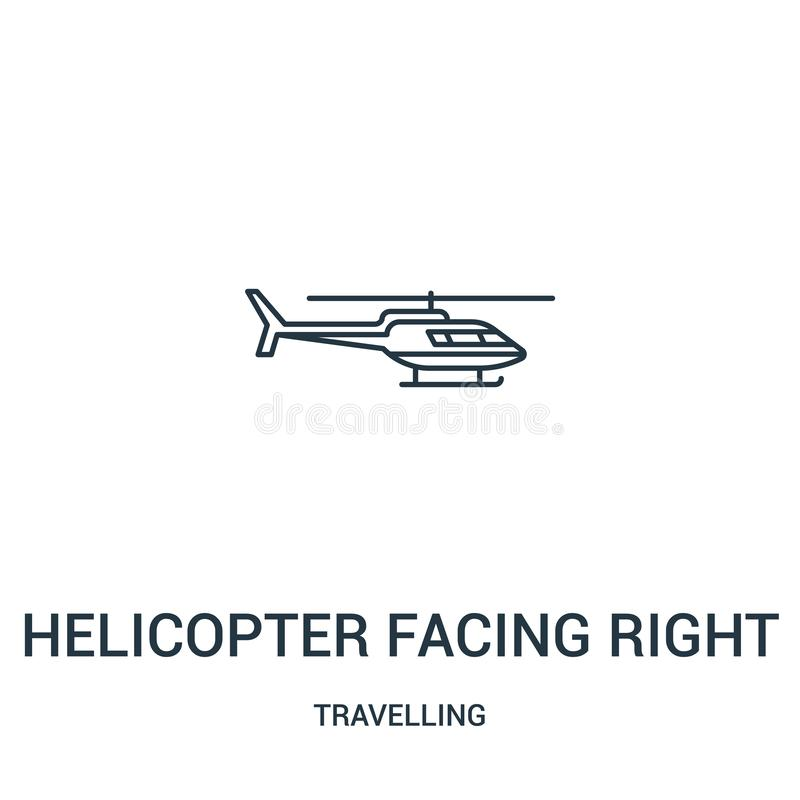 helicopter facing right icon vector from travelling collection. Thin line helicopter facing right outline icon vector illustration royalty free illustration