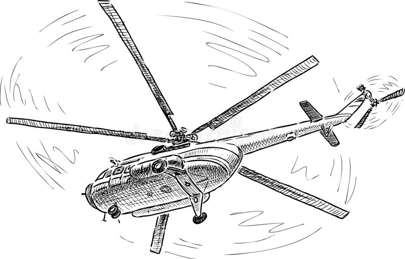 Helicopter in the flight. Vector drawing of a helicopter in the sky stock illustration