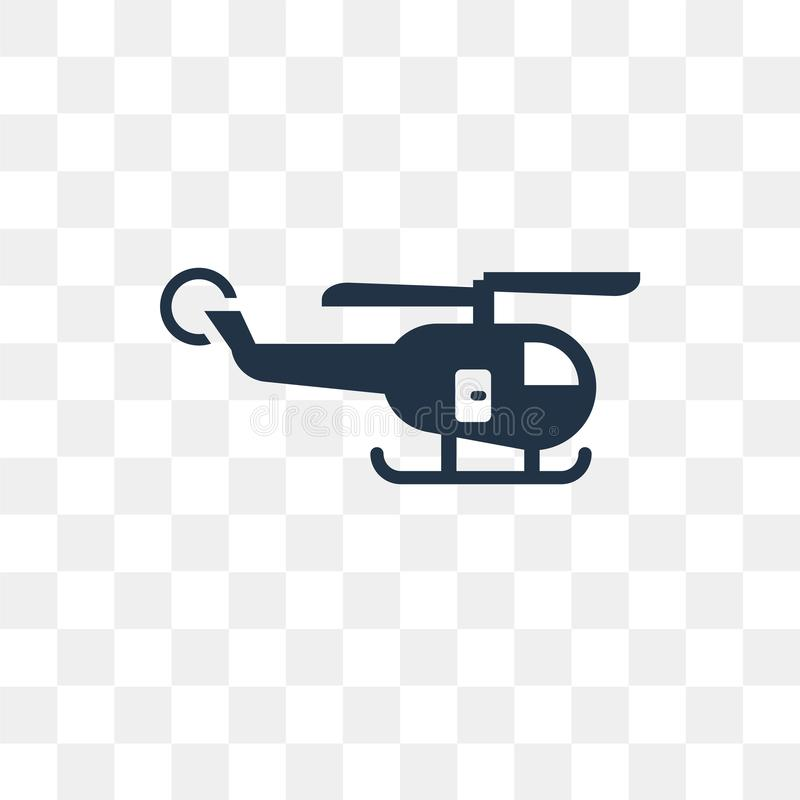 Helicopter Flying vector icon isolated on transparent background royalty free illustration